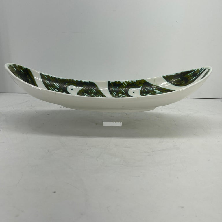 Glazed Alessio Tasca Green and White Ceramic Bird Serving Platter Mid-Century Modern For Sale