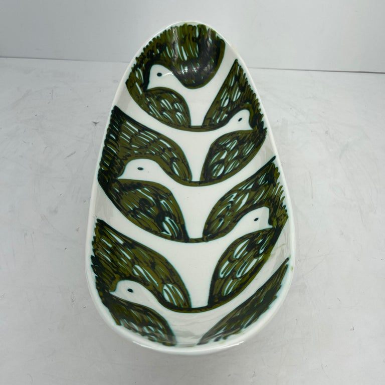 Mid-20th Century Alessio Tasca Green and White Ceramic Bird Serving Platter Mid-Century Modern For Sale