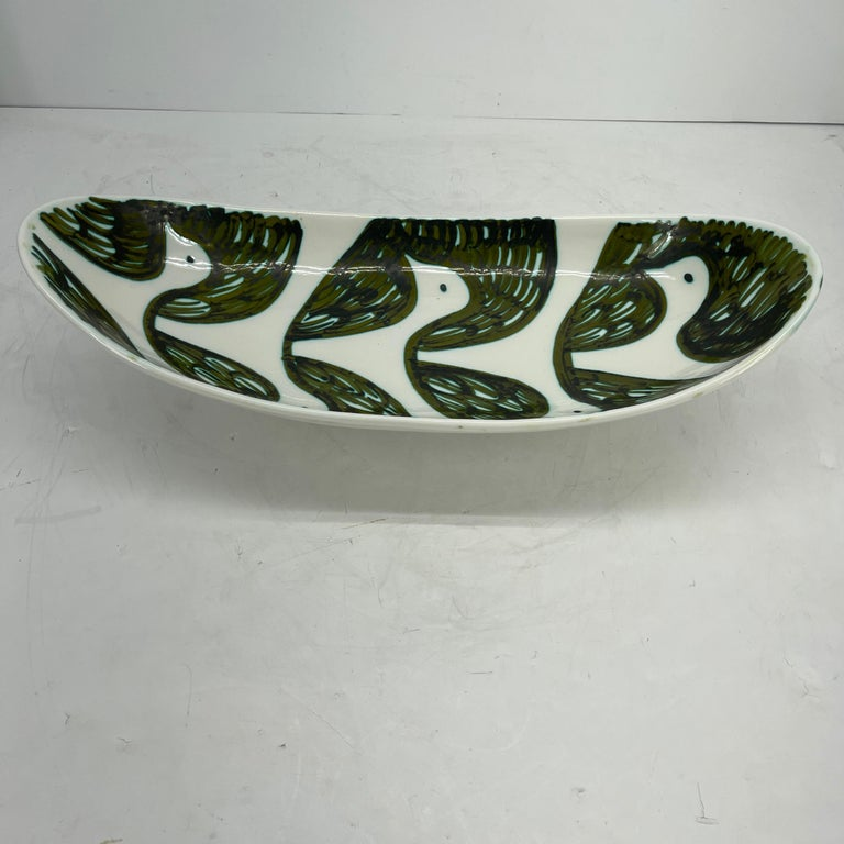 Alessio Tasca Green and White Ceramic Bird Serving Platter Mid-Century Modern For Sale 1