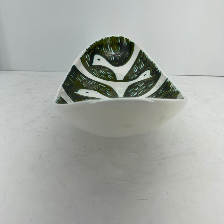 Alessio Tasca Green and White Ceramic Bird Serving Platter Mid-Century Modern For Sale 2