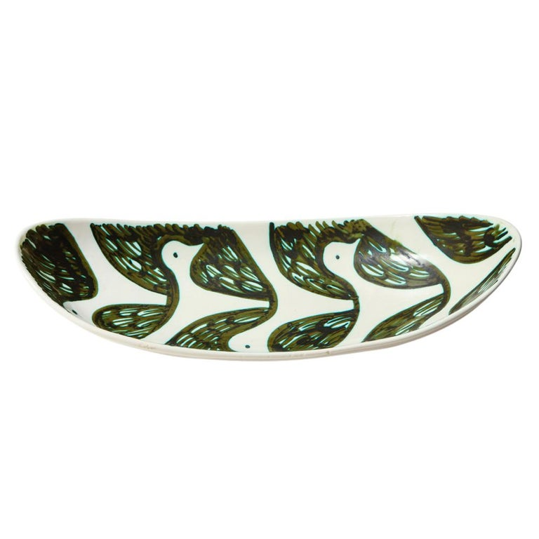Italian Alessio Tasca for Raymor Bowl, Ceramic, Green and White, Birds, Signed