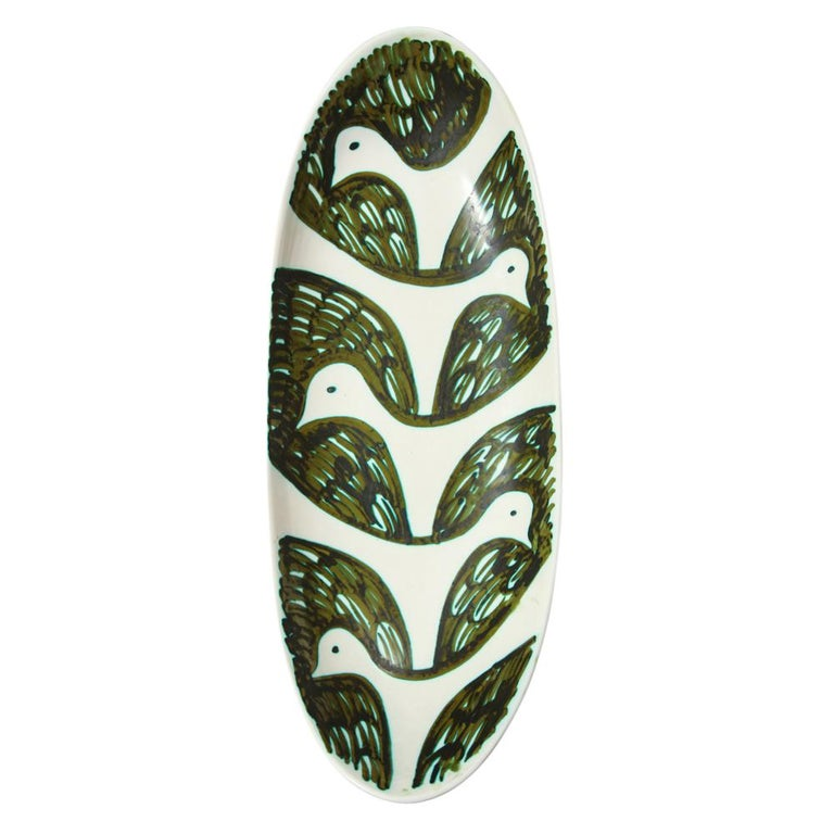 Glazed Alessio Tasca for Raymor Bowl, Ceramic, Green and White, Birds, Signed