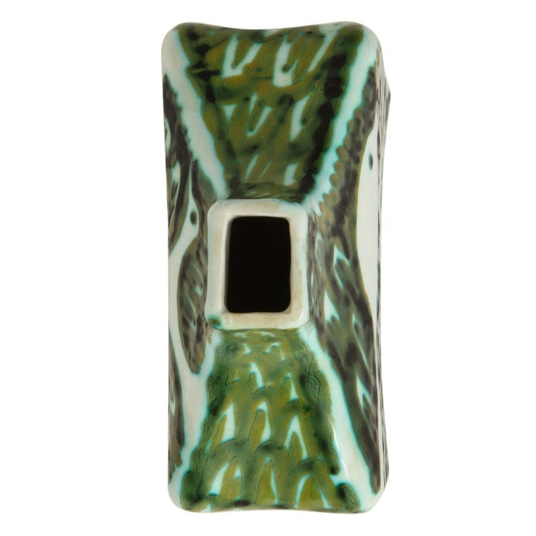 Glazed Alessio Tasca for Raymor Vase, Ceramic, Green and White, Signed For Sale