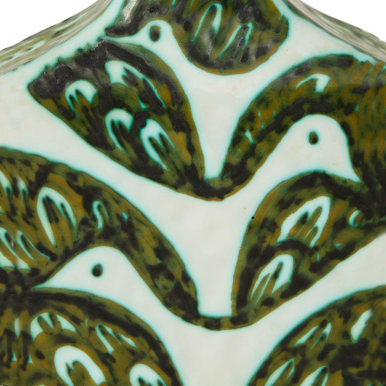 Alessio Tasca for Raymor Vase, Ceramic, Green and White, Signed For Sale 1