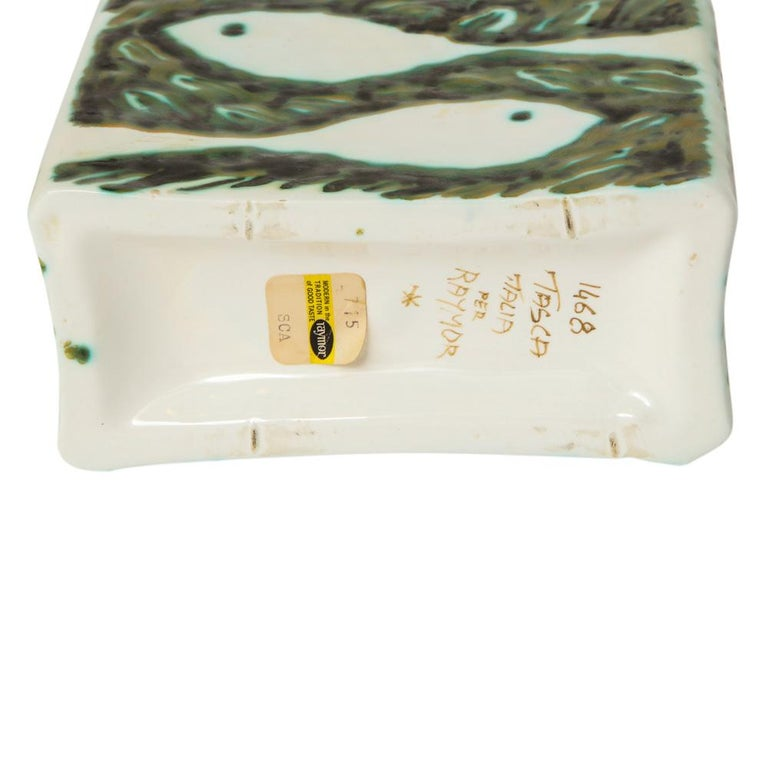 Alessio Tasca for Raymor Vase, Ceramic, Green and White, Signed For Sale 2