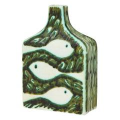 Raymor Alessio Tasca Vase, Ceramic Green White, Signed