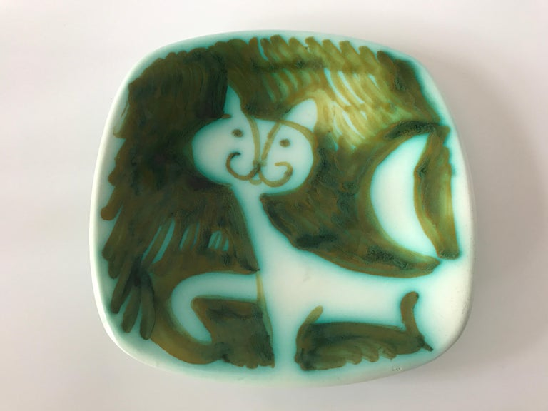 Alessio Tasca Signed 1960s Prowling Cat Ceramic Square Italian Midcentury Dish In Good Condition For Sale In Rothley, Leicestershire