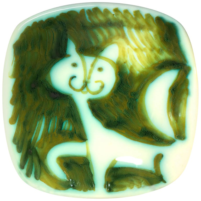 Alessio Tasca Signed 1960s Prowling Cat Ceramic Square Italian Midcentury Dish For Sale