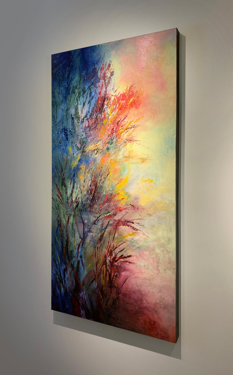 Awakening to the Light - soft light through tall grasses abstracted - Contemporary Painting by Aleta Pippin
