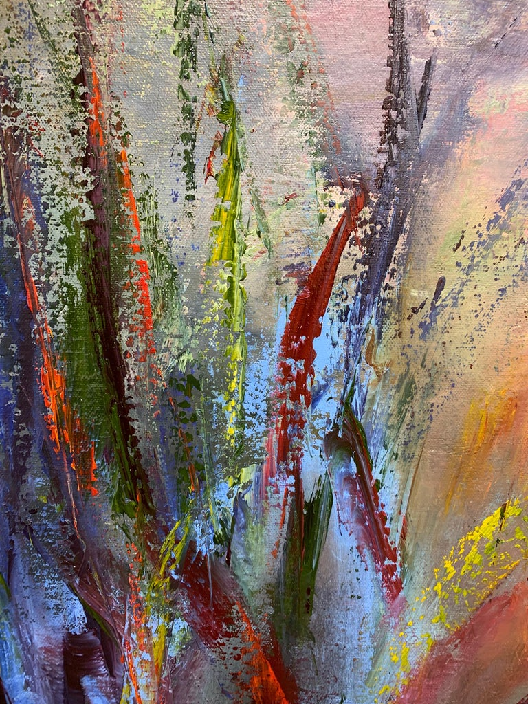 Awakening to the Light - soft light through tall grasses abstracted - Brown Abstract Painting by Aleta Pippin