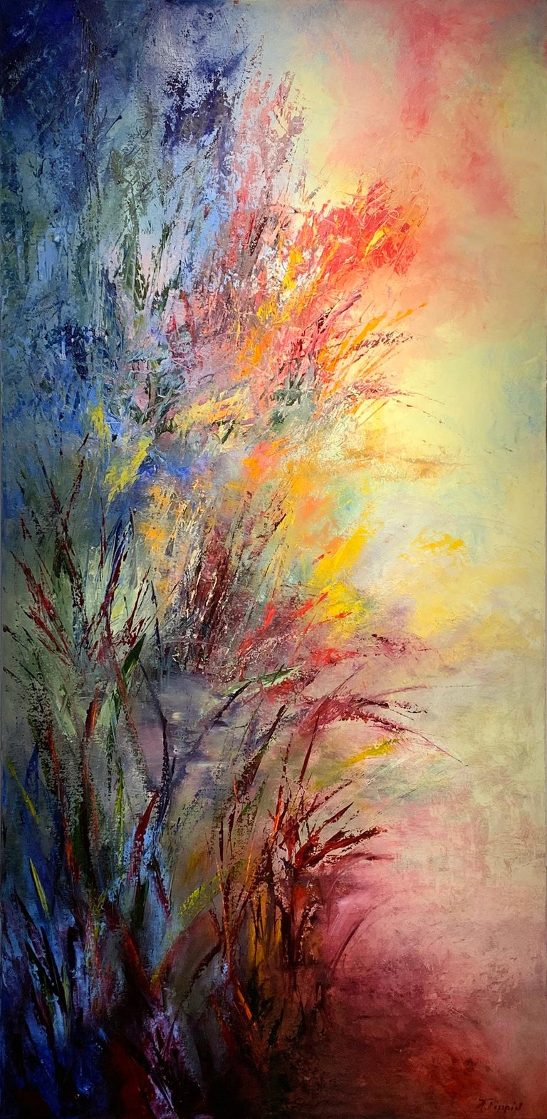 Aleta Pippin Abstract Painting - Awakening to the Light - soft light through tall grasses abstracted