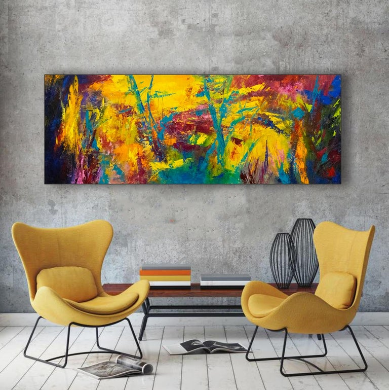 Caribbean Rhapsody - colors of the Caribbean create energy and movement - Painting by Aleta Pippin