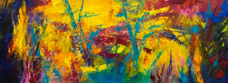 Aleta Pippin Abstract Painting - Caribbean Rhapsody - colors of the Caribbean create energy and movement