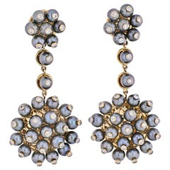 Aletto Brothers 18 Karat Yellow Gold Diamond, Cultured Pearl Dangling Earrings