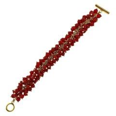 Aletto Brothers Carnelian Diamond Gold Pom Pom Bracelet