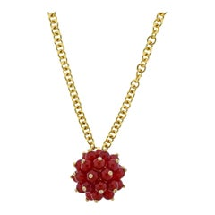 Aletto Brothers Carnelian Diamond Gold Pom Pom Pendant Necklace