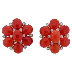 Aletto Brothers Coral Diamond Gold Floral Earrings