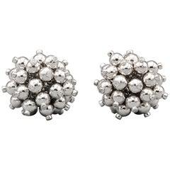 Aletto Brothers Diamond 18k White Gold Pom Pom Earrings