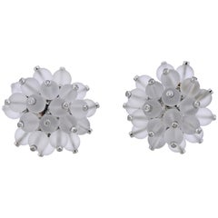 Aletto Brothers Diamond Crystal Gold Pom Pom Earrings