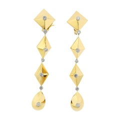 Aletto Brothers Diamond Gold Geometric Drop Earrings