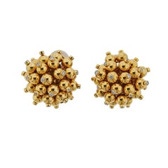 Aletto Brothers Diamond Gold Pom Pom Earrings