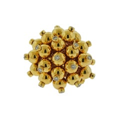 Aletto Brothers Diamond Gold Pom Pom Ring