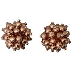 Aletto Brothers Gold Ball Cluster Earrings with Diamonds