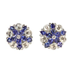 Aletto Brothers One-of-a-Kind Sapphire, Diamond and Rock Crystal Flower Ear Clip