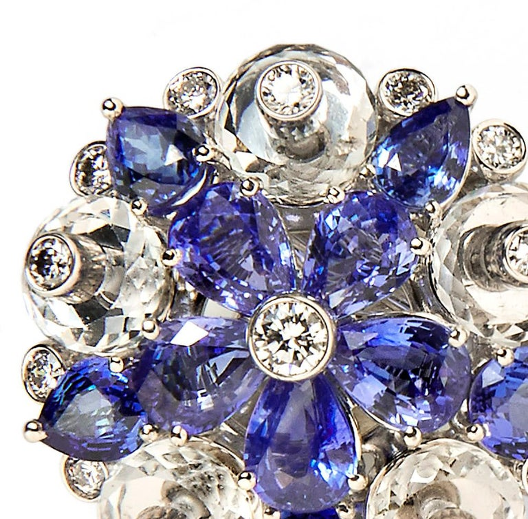 Aletto Brothers Sapphire, Diamond and Rock Crystal Flower Ear Clips In Excellent Condition For Sale In Boston, MA