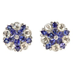 Aletto Brothers Sapphire, Diamond and Rock Crystal Flower Ear Clips
