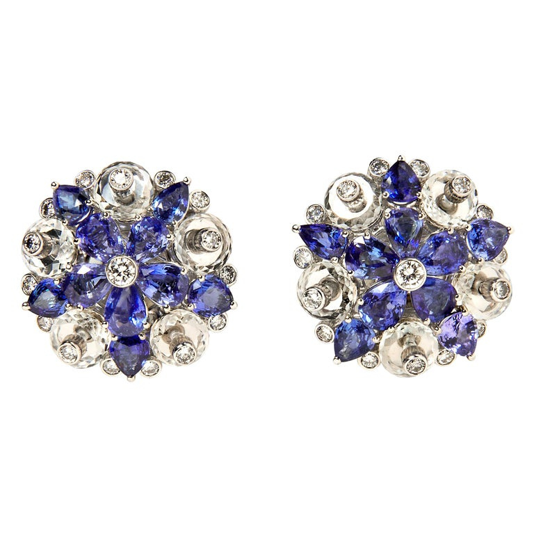 Aletto Brothers Sapphire, Diamond and Rock Crystal Flower Ear Clips For Sale