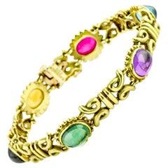 Aletto & Co. Gemstone Link Bracelet in 18 Karat Yellow Gold