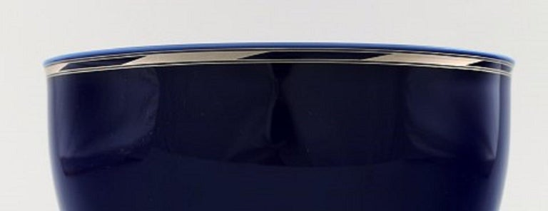 Scandinavian Modern Alev Siesbye for Royal Copenhagen, Bowl of Porcelain Decorated with Blue Glaze For Sale
