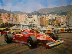 """ Gilles Villeneuve Mónaco 1981 Ferrari 126CK"" original acrylic painting"