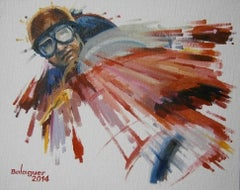 """""""  Juan Manuel Fangio · 1956 · Ferrari-Lancia D50"""" original acrylic painting"""