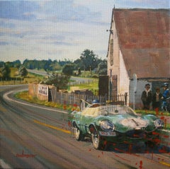 """"""" Mike Hawthorn Le Mans 1956 Jaguar D-Type """" original acrylic painting"""
