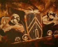"""Citroën Traction Avant 11B · 1955"" original acrylic painting"