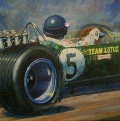 Cuadro Nº 207 Jim Clark 1967 Lotus Type 49  acrylic painting
