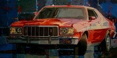 """Ford Gran Torino 1974 Starsky & Hutch"" original realist acrylic painting"