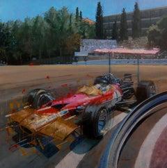 Graham Hill Circuit de Montjuïc 1969 Lotus 49 original acrylic painting