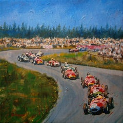 Hawthorn, Collins, Fangio & Behra. 1957.. original acrylic painting