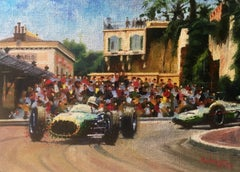 Jack Brabham - Monaco 1964 original realist acrylic painting