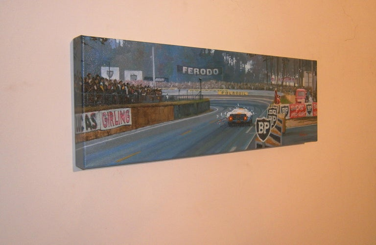 Jacky Ickx Le Mans 1969 Ford GT40 original acrylic painting - Painting by Alex BALAGUER