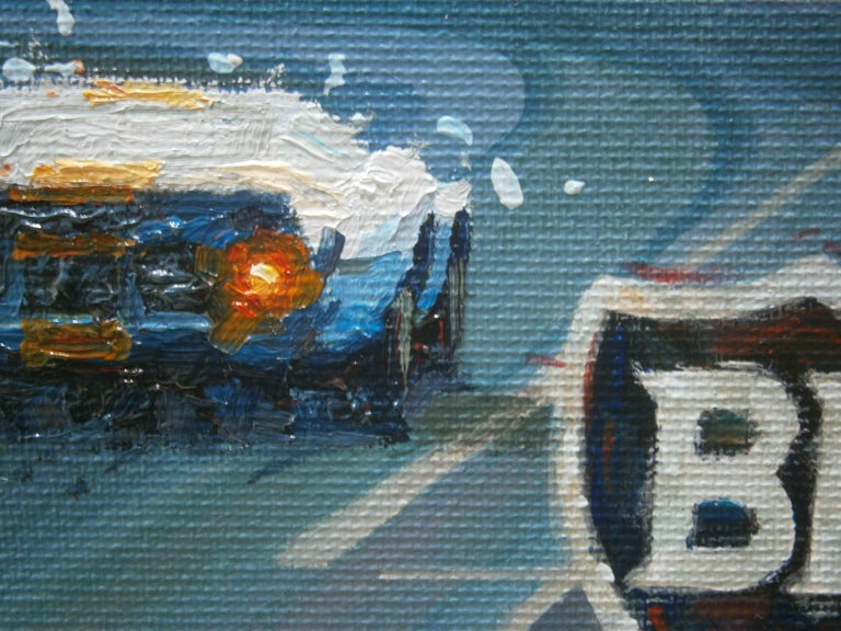 Jacky Ickx Le Mans 1969 Ford GT40 original acrylic painting - Expressionist Painting by Alex BALAGUER