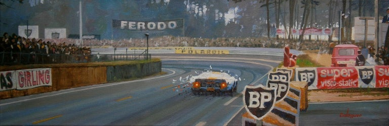 Alex BALAGUER Figurative Painting - Jacky Ickx Le Mans 1969 Ford GT40 original acrylic painting