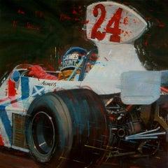"""James Hunt 1975 Hesketh 308 "" original realist acrylic painting"