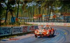 Jean Guillet & Pierre Noblet. Le Mans 1962. Ferrari250 GTO.original painting