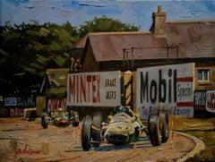 """""""Jim Clark · British GP 1962 · Lotus 25"""" original acrylic painting"""