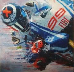 """Jorge Lorenzo · 2010 · Yamaha YZF-R1"" original acrylic painting"
