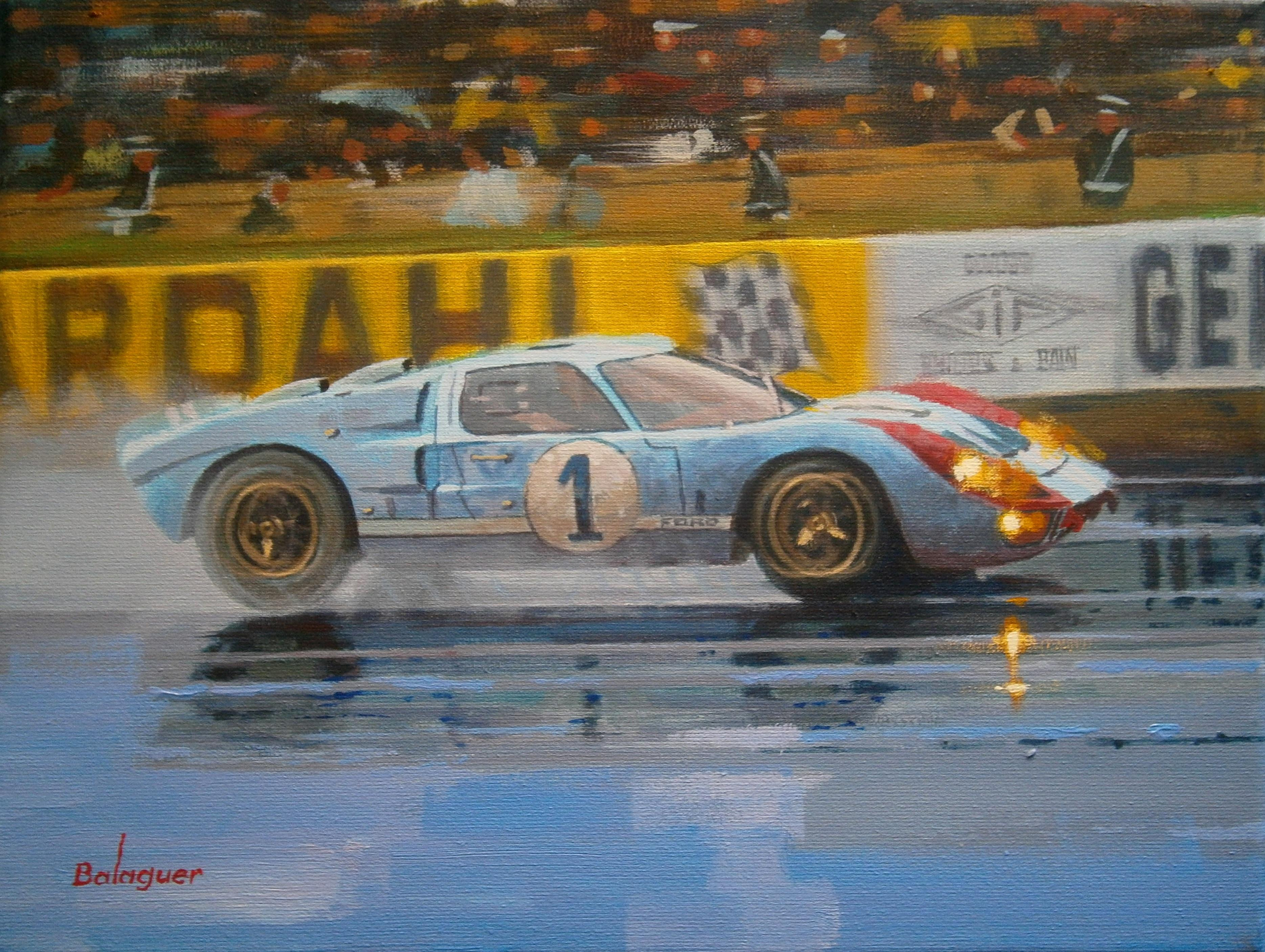 Alex Balaguer Ken Miles And Denny Hulme Le Mans 1966 Ford Gt40 Mk Ii Acrylic Canvas Painting For Sale At 1stdibs